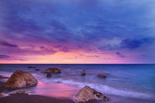 pink purple ocean