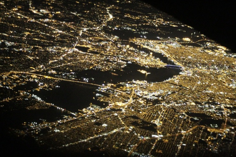 NYC aerial night