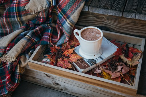 autumn cocoa and book