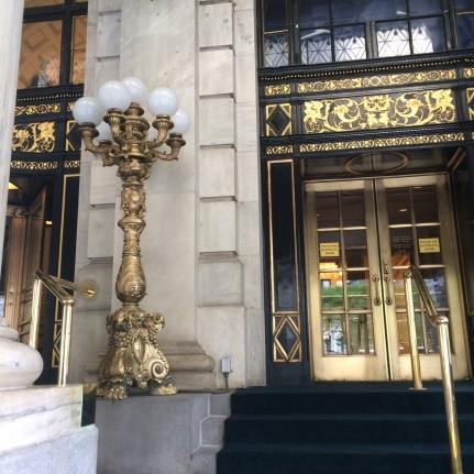 Plaza door and lamp