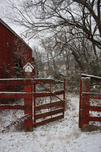 red barn snow birdhouse