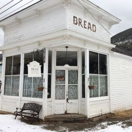 small town snowy store