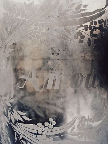 Amour etched glass