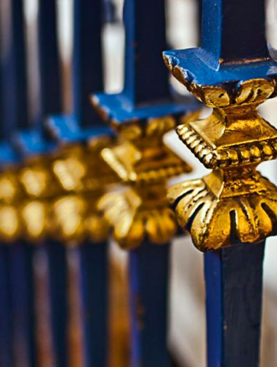 blue and gold railing