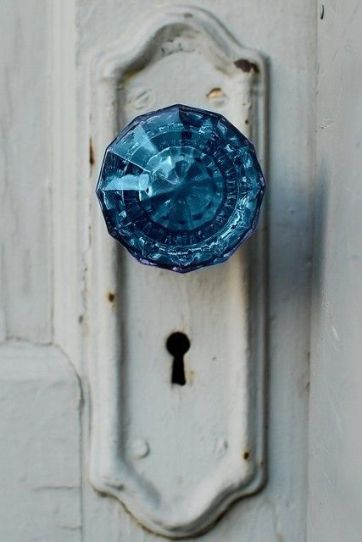 blue doorknob