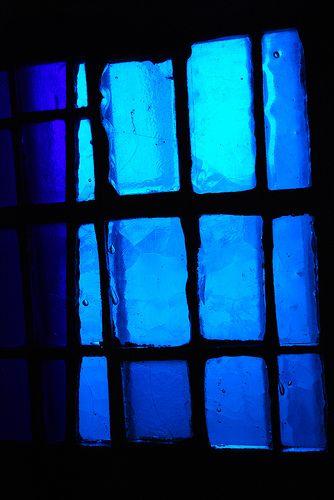 blue indigo glass window