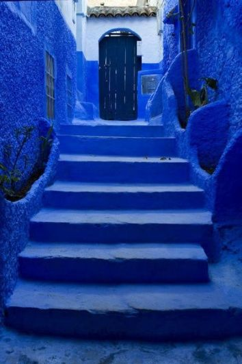 blue stairs Morocco