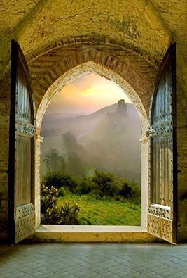 open window and hills