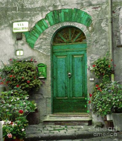 green arched door
