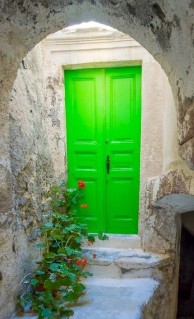 green bright door