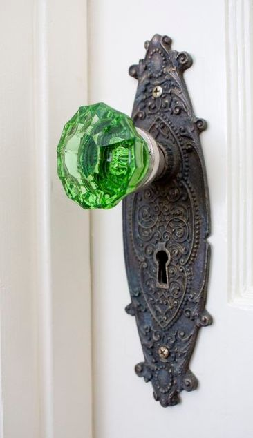 green doorknob