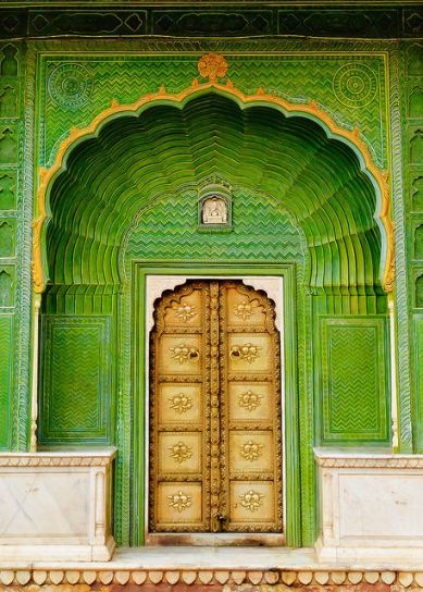 green Indian door